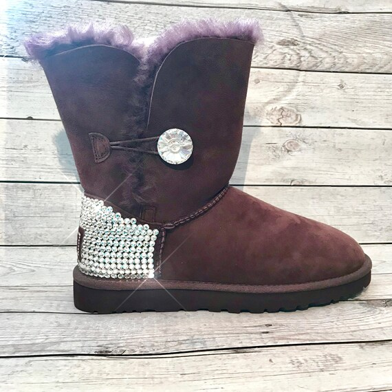 1c794e7f07a Bling baily button UGG boots- FREE SHIPPING- black crystal ugg boots -  bedazzled bailey bling uggs - custom woman's ugg boots - sparkly uggs