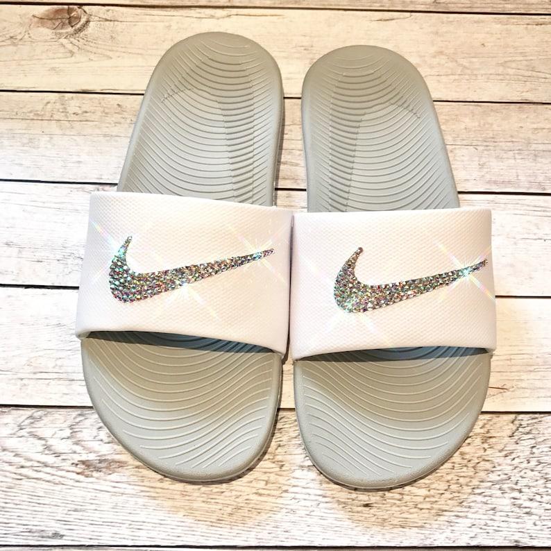 1cdad9ec54a506 Bling nike slides crystal nikes flip flops sparkly sandals