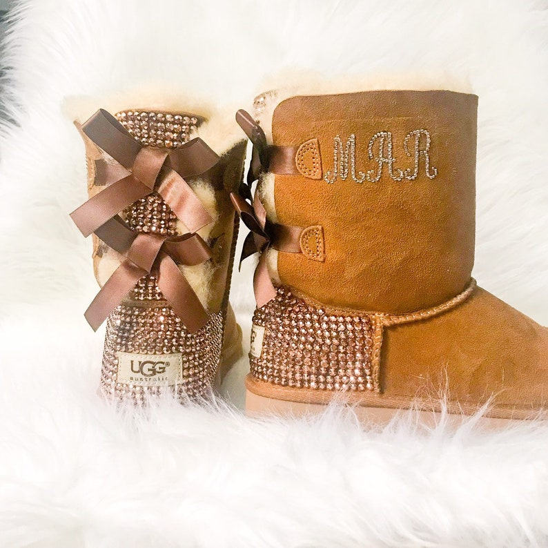 Bling UGG boots with monogram- FREE SHIPPING- crystal ugg boots - womans  ugg boots- bedazzled uggs with bows- custom chestnut ugg boots - 78ea49b09