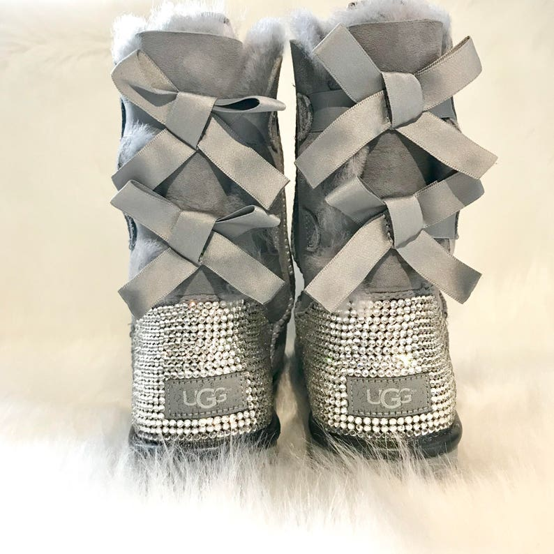 e7a2193abbd bling UGG boots- FREE SHIPPING- gray crystal ugg boots- grey bedazzled  bailey bow uggs- custom women's ugg boots- bling uggs with bows-