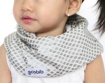 "Modern Bib (Diamond Shimmer) All in One Scarf & Bib ""Scabib"" TM for babies or toddlers"