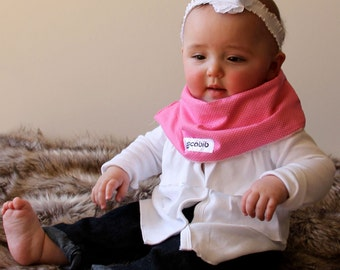 "Modern Bib (Pink Small Dots) All in One Scarf & Bib ""Scabib"" TM for babies or toddlers"