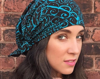 69374a8648551 Fall Vintage Style Teal Pre Tied Head Covering Hair Wrap Modern Hijab. Made  in USA