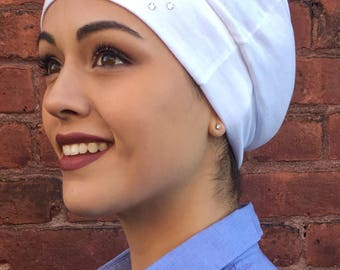Uptown Girl Headwear Swarovski crystal embellished white headcover sleep chemo cap