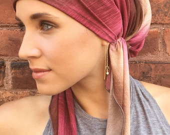 Uptown Girl Headwear Pre Tied Easy Slip On Hijab Tichel Chemotherapy Head Cover Tie Dye Hair Scarf. Cocoa Raspberry