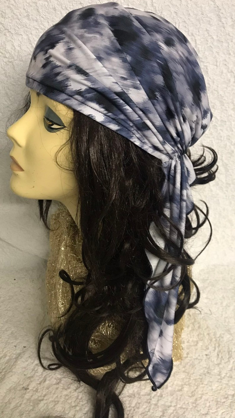 Poly Fabric Suitable For Natural Hair Made in USA 2021 Tie Back Hat Head Scarf For Women Fashion Wrap Tie Dye Grey Blue