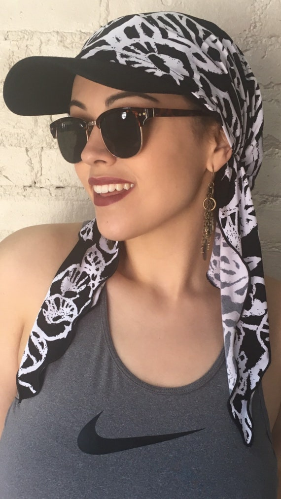 bccfd44a5c627 Black and White Sun Visor Scarf Baseball Cap Sport Style | Etsy
