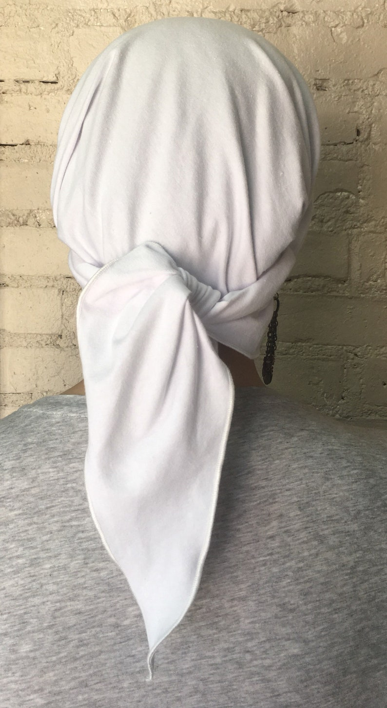 In Hospital Made in USA Tie Back Hat White Breathable Stretchy Cotton Headscarf Head Cover To Conceal Hair For Healthcare Employee
