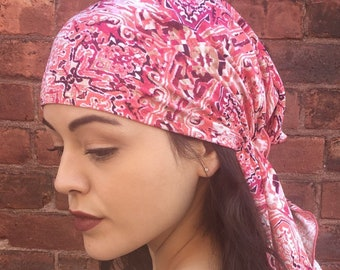 Pink Power Summer Pre Tied Hijab Hair Wrap Headcovering Tichel Head Scarf For Women