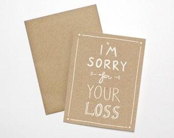 Carte de sympathie - je suis désolé pour votre perte