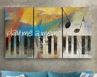 Metal Wall Art  3d Dimensional 3 Panel Piano Abstract Metal Triptych