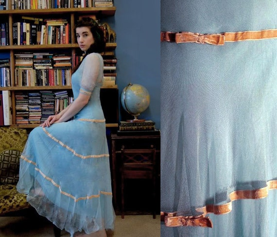 30's Silk Tulle Gown 3pc