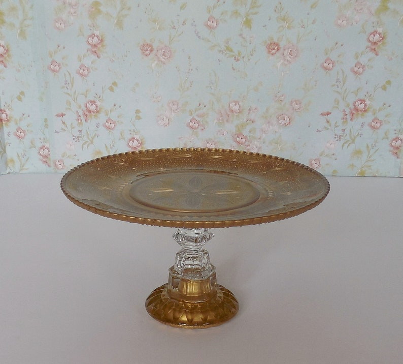 9 Gold Cake Stand  Gold Glass Cake Pedestal  Gold Dessert Stand  Cupcake Stand  Wedding Cake Stand  Baby Shower