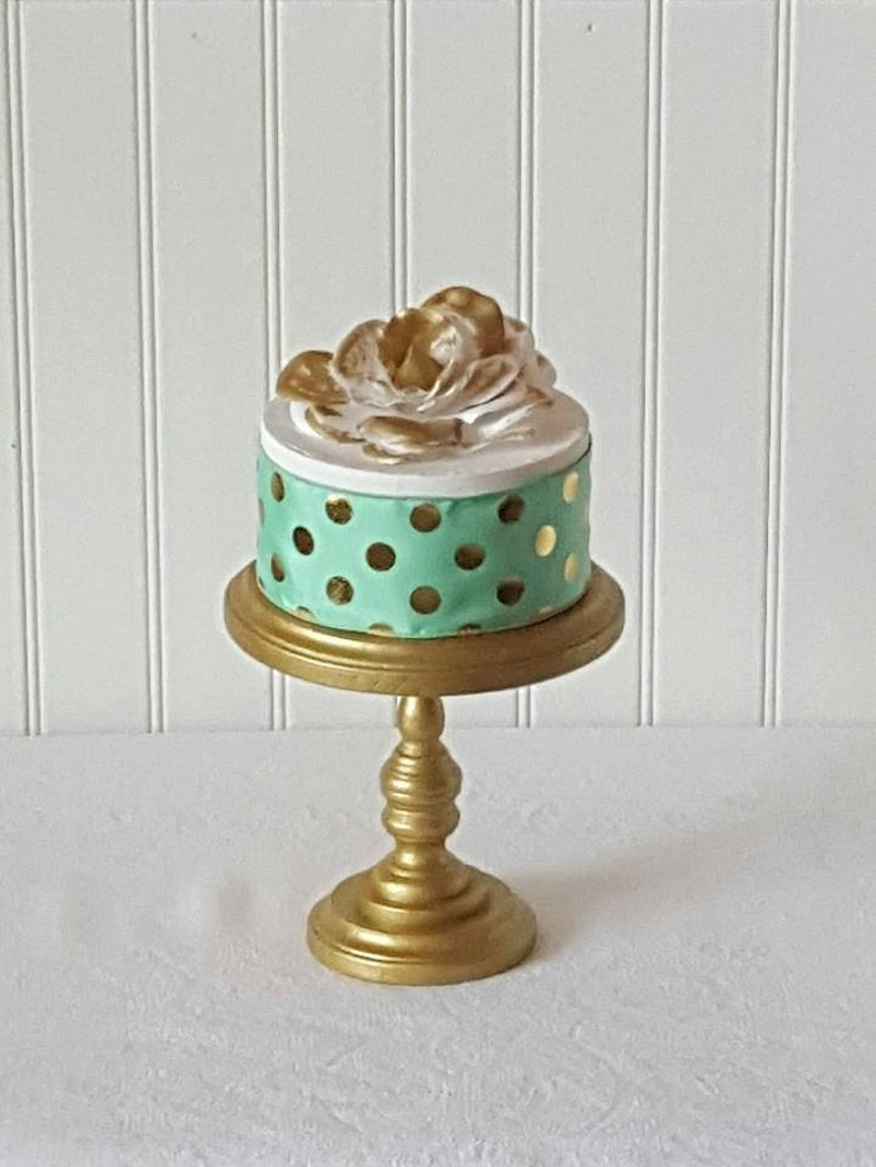 6 Inch Cake Stand Gold Cake Stand Rustic Wood Smash Cake Etsy