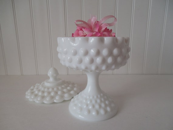 Fenton White Hobnail Milk Glass Candy Dish With Lid Lidded