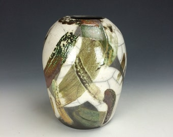 Crackle White Green Rustic Red and Turquoise Raku Ceramic Vase, Metallic Modern Home Decor, Unique Clay Vessel, Large Contemporary Artwork