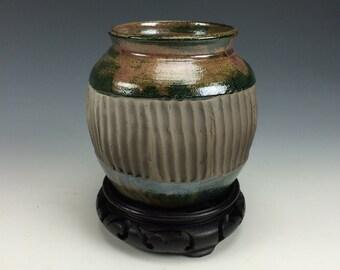 Deep Green, Subtle Pink and Black Raku Ceramic Vase, Modern Home Decor, Unique Carved Clay, Southwestern Vessel