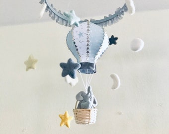 1daeafad4cb Baby Mobile   Nursery Mobile   Hot Air Balloon Mobile   Crib Mobile   Cot  Mobile   Elephant Mobile   Clouds Mobile   Grey and White Nursery