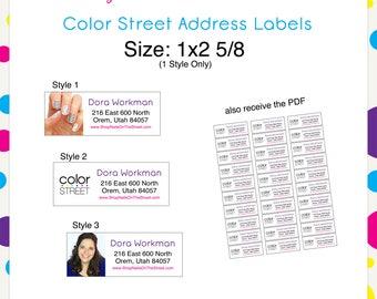 Color Street Address Labels 1x2 5/8 --Custom Digital Download