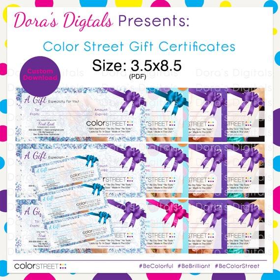 color street gift certificate custom digital download etsy