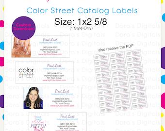 Color Street Catalog Labels 1x2 5/8 --Custom Digital Download