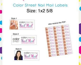 Color Street Nail Mail Labels 1x2 5/8 --Custom Digital Download