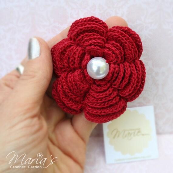 Bridesmaids Gifts Crochet 6 Petal Flower Brooch Pearl Width Etsy
