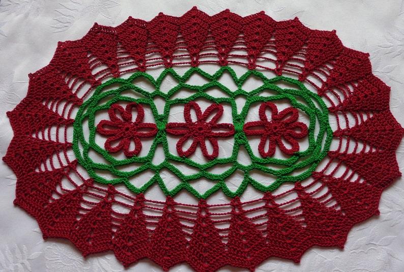 Custom Designed Crochet Holiday Table Runner 12 X16 Crochet Doily Centerpiece Vintage Inspired Decor Lacy Christmas Table Runner