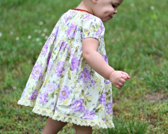 Marissa floral lace dress, toddler peasant dress, Yellow and purple floral dress