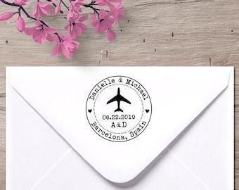 Airplane Stamp, Save the Date stamp, Wedding Invitation stamp, destination wedding stamp