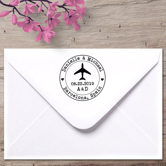 airplane stamp save the date stamp wedding invitation stamp etsy
