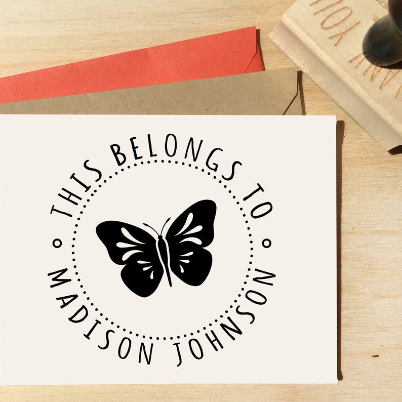 Custom Butterfly Stamp Back To School Stamp Custom Stamp Butterfly Stamp Gifts For Girls Stamps For Girls This Book Belongs To
