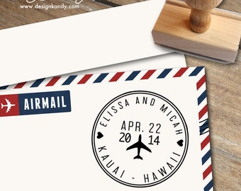 Airplane Stamp, Airmail Stamp, Save the Date Stamp, Wedding Invitation Stamp, Custom Stamp, Destination Wedding Stamp, Wedding Stamp
