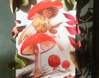 Fall Fairies - Amanita Mushroom: Art Print