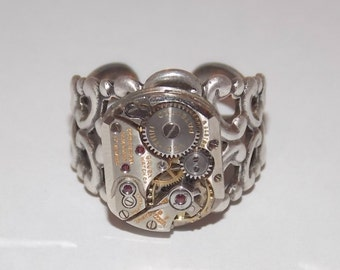 Steampunk Adjustable Fancy Filigree Ring