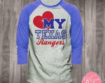 Love My Texas Rangers Raglan in Glitter