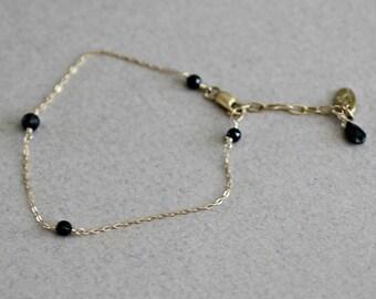 Tiny Gemstone Bracelet-Dainty Black Bracelet-Delicate Bracelet-Black CZ Bracelet-Cubic Zirconia Bracelet-Gift for Her-Christmas Gift