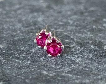 Ruby Stud Earrings-3mm Ruby Studs-Studs-July Birthstone Earrings-Red Earrings-Small Red Studs-Gifts for Girls-Ruth Barzel Jewelry