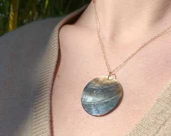 Abalone Necklace-Mother of Pearl Pendant-Iridescent Pendant-Disc Necklace-Circle Necklace-Shell Pendant-Statement Pendant
