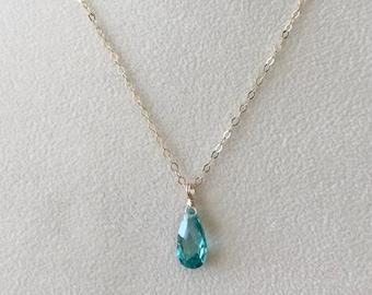 Emerald Pendant-Emerald Necklace-Emerald Teardrop Necklace-Emerald Teardrop Pendant-May Birthstone Pendant-Emerald Pendant Necklace