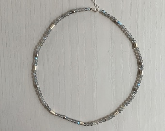 18 inch necklace-Labradorite Necklace-Gray Gemstone-Irridescent-Blue-Green-Sterling Silver-Adjustable-One of a Kind-Ruth Barzel Jewelry