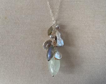 Aquamarine Pendant-Aquamarine Necklace-Natural Aquamarine-Aquamarine Cluster Pendant-Cluster Necklace-Charm Pendant-Blue-Something Blue