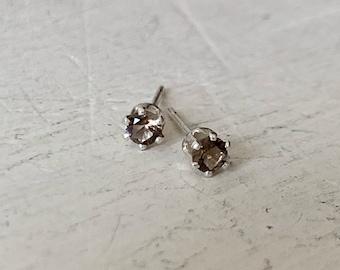 Bella Femme Smokey Topaz Petite Silver Earrings