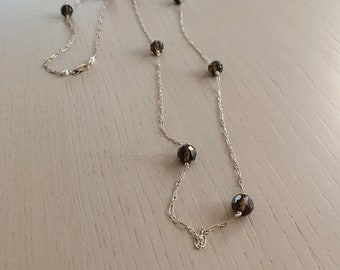 Long Smoky Quartz Necklace-Faceted Smoky Topaz Necklace-Brown-Long Necklace-Long Delicate-Gray-Layering Necklace-Wire Wrapped-Gift for Her