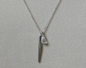 Silver Pendant with Crystal-Silver Necklace with Crystal-Charm Pendant-Needle Pendant-Needle Necklace-Needle Charm Pendant-Gift for Her