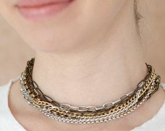 Mixed Metals Necklace-Mixed Metals Choker-MultiStrand Chain Choker-Multichain Necklace-Multistrand Necklace-Multi Strand Necklace