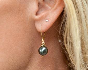 Black Pearl Earrings-Black Shell Pearl Earrings-Black Pearl Drops-Black Pearl Dangles-Black Earrings-Black Drops-Black Pearls-Gifts for Her