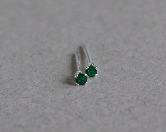 9fc4ac07a Emerald Stud Earrings-Emerald Studs-Tiny Emerald Studs-Tiny Emerald Stud  Earrings-Tiny Studs-Small Studs-May Birthstone Studs-Gifts Under 20