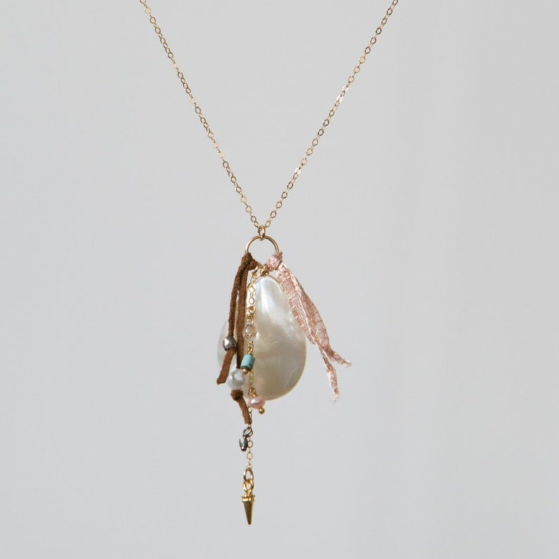 Charm Necklace-Mixed Media Pendant Abalone Pendant-Mother of image 0