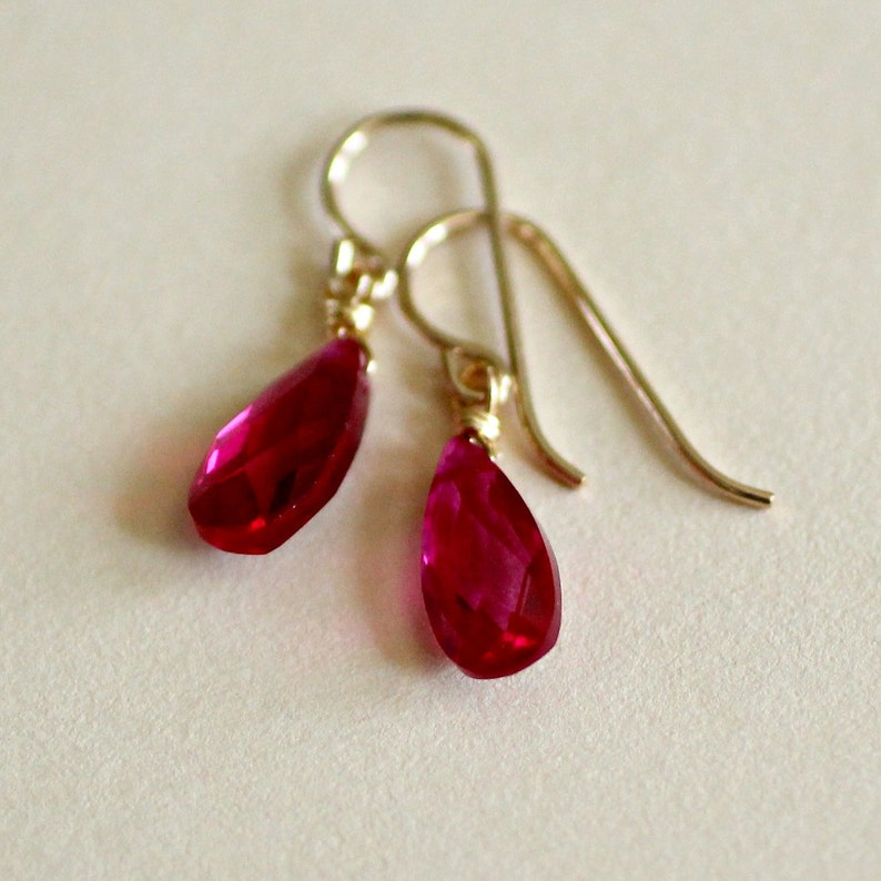 Ruby Earrings-Ruby Teardrop Earrings-Red Earrings-July image 0